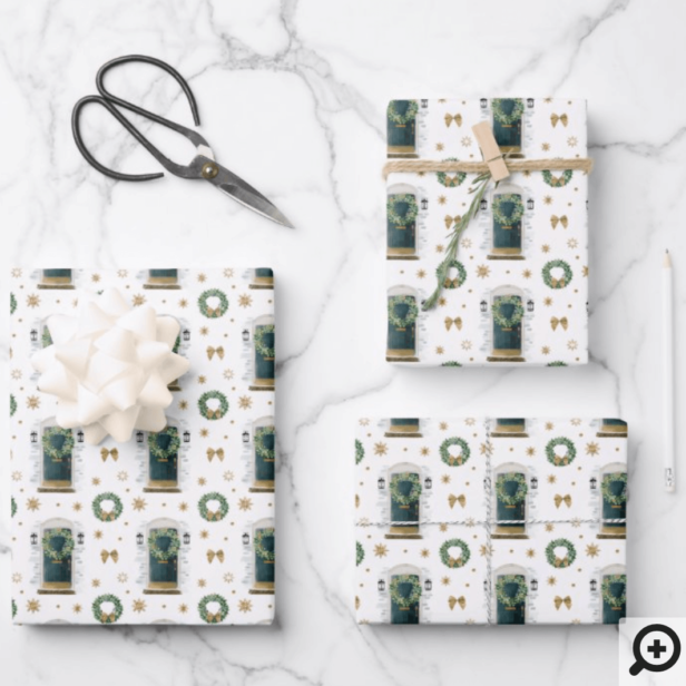 Festive Watercolor Green Front Door Pattern Wrapping Paper Sheets
