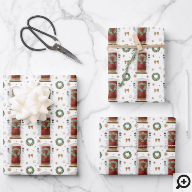 Festive Watercolor Red Front Door Pattern Wrapping Paper Sheets