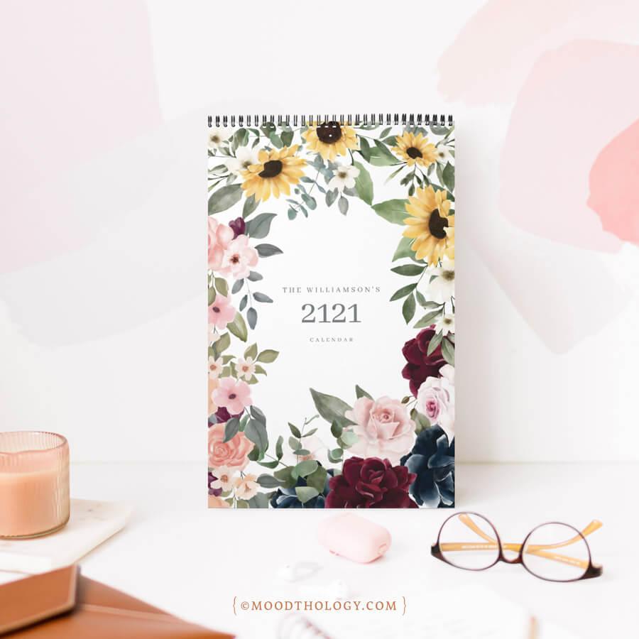 Watercolor Floral Botanical Garden Illustrations Calendar Moodthology Papery