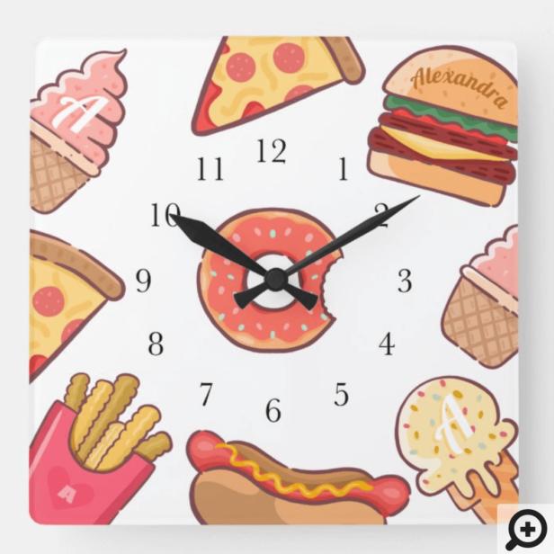 Fun Junk Food Cartoons Custom Name & Monogram Square Wall Clock