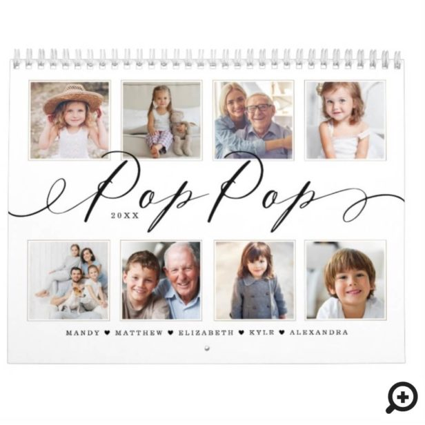 Gift for Pop Pop | Grandchildren Family Photos Calendar