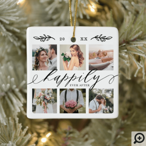 Happily Ever After Newlyweds Wedding Photo Collage Ceramic Ornament