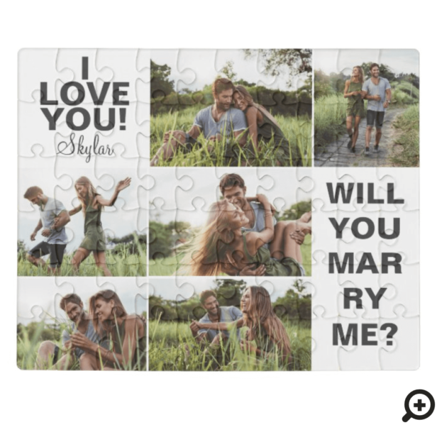 I Love You! Will You Marry Me Photo Collage Jigsaw Puzzle