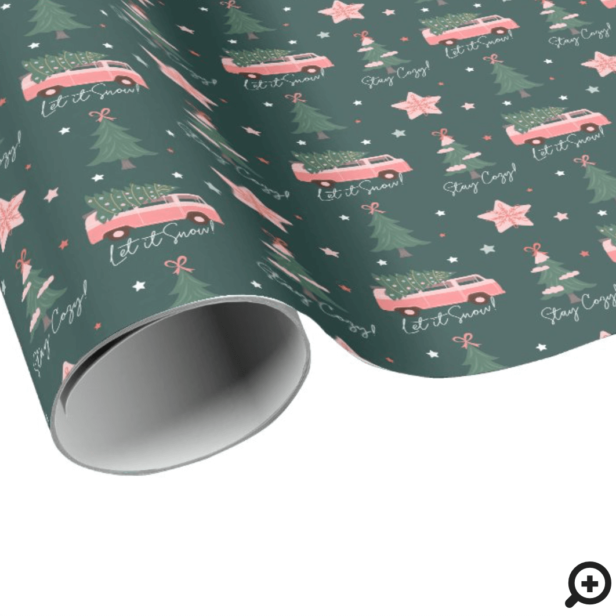Let It Snow Christmas Tree Green Vintage Retro Van Wrapping Paper