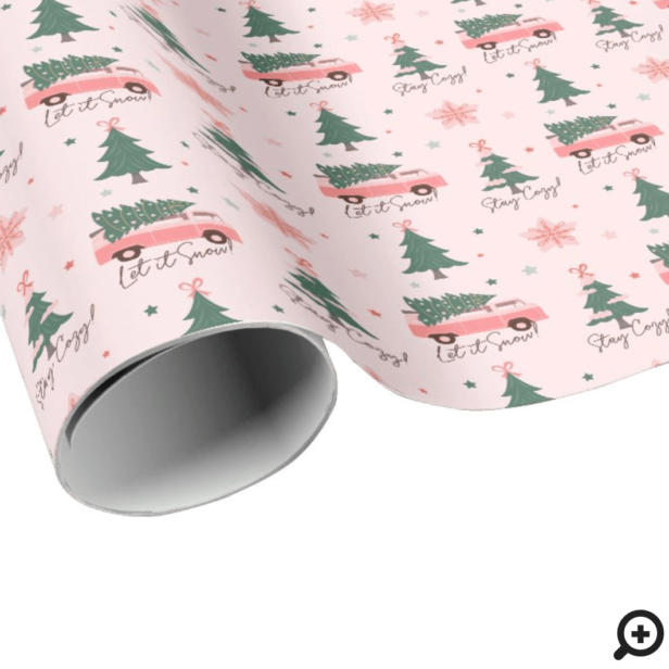 Let It Snow Christmas Tree Pink Vintage Retro Van Wrapping Paper