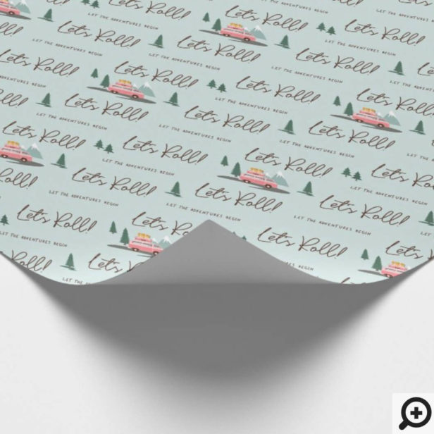 Let's Roll | The Adventure Begins Pink Retro Van Blue Wrapping Paper