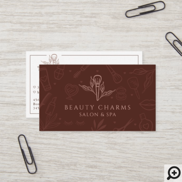 Luxury Beauty Charms Burgundy & Pink Makeup Logo Business Card
