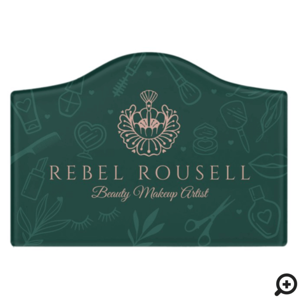 Luxury Beauty Charms Green & Pink Makeup Logo Door Sign