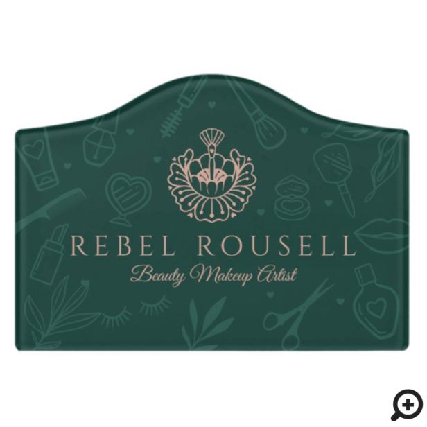 Luxury Beauty Charms Green & Pink Makeup Logo Door Sign