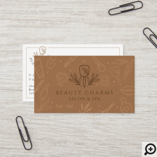 Luxury Beauty Charms Makeup Tools Emerald Green Business Card