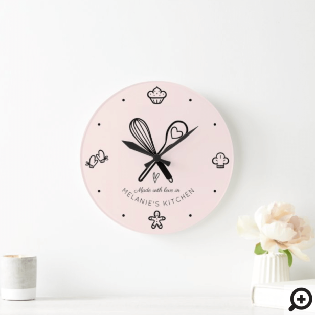 Made With Love Cute Baking Whisk Blush Pink Large Clock