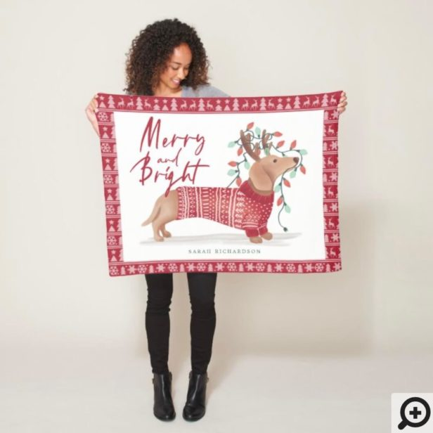 Merry & Bright | Dachshund Dog Christmas Sweater Fleece Blanket