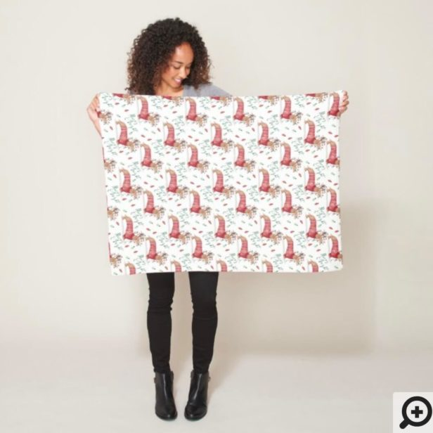 Merry Christmas - Dachshund Dog Christmas Sweater Fleece Blanket