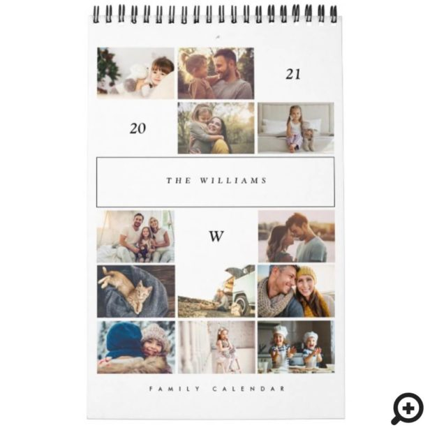 Minimalist Multi Photo Collage Family Memories Calendar
