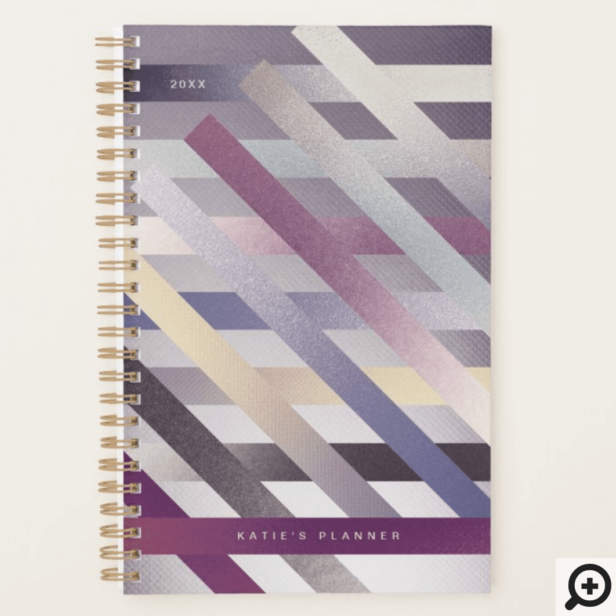 Modern Abstract Geometrical Metallic Stripe Patten Planner