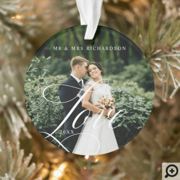 Modern Love Script Newlywed Full Photo Keepsake Ornament