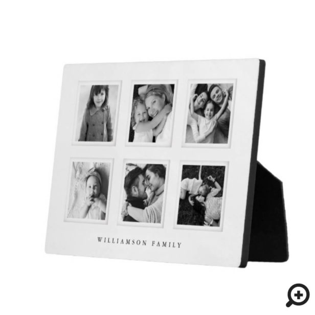 Modern Minimal 6 Grid Matboard Black & White Photo Plaque