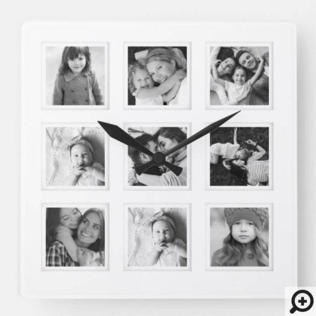 Modern Minimal 9 Grid Matboard Black & White Photo Square Wall Clock