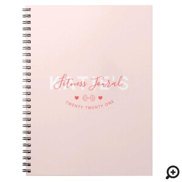 Modern Trendy Fitness Journal Blush Pink
