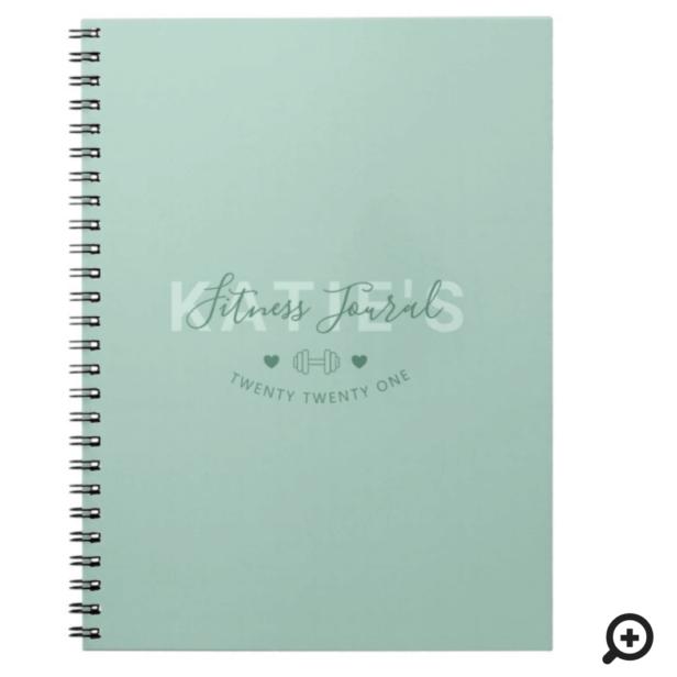Modern Trendy Fitness Journal Mint Green