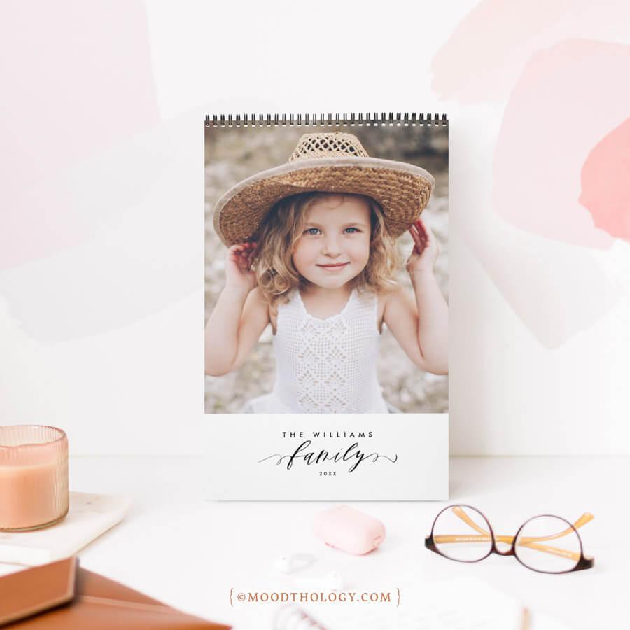 Modern Minimalist Multi Photo Family Memories Calendar