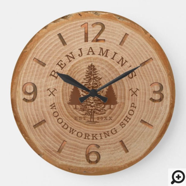Natural Wood Slice Personalized Woodworking Shop Large Clock