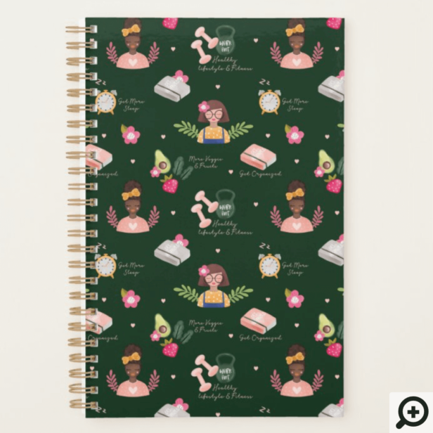 New You | New Year Resolutions Girly Illustrative Planner Emerald Green