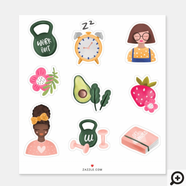 New You | New Year Resolutions Girly Illustrative Sticker