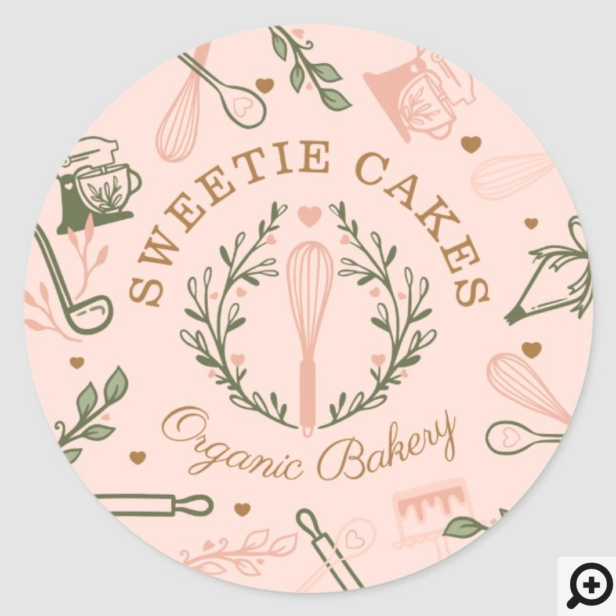 Pink & Olive Green Baking & Cooking Utensil Bakery Classic Round Sticker