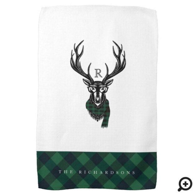 Reindeer Green Buffalo Plaid Family Monogram Kitchen Towel