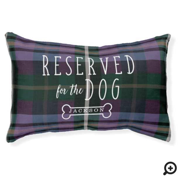 Reserved For The Dog Purple & Plaid Pattern Pet Bed