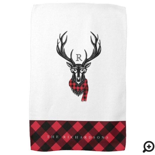 Rustic Reindeer Red Buffalo Plaid Family Monogram Kitchen Towel