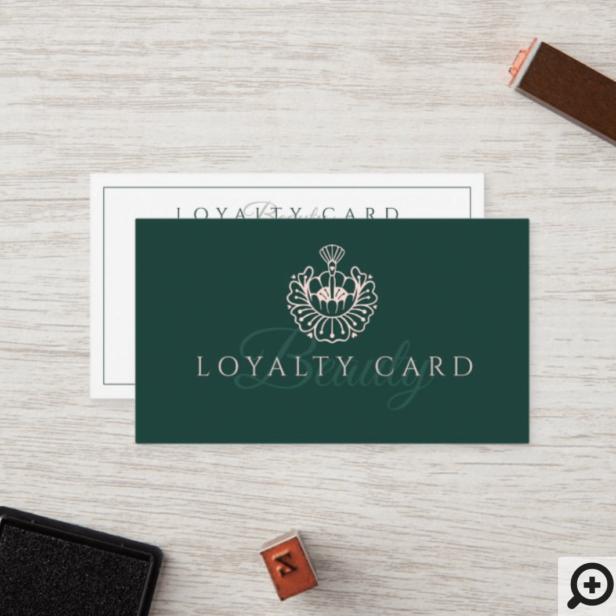 Luxury Beauty Lotus/Makeup Brush Logo Green & Pink Loyalty Card