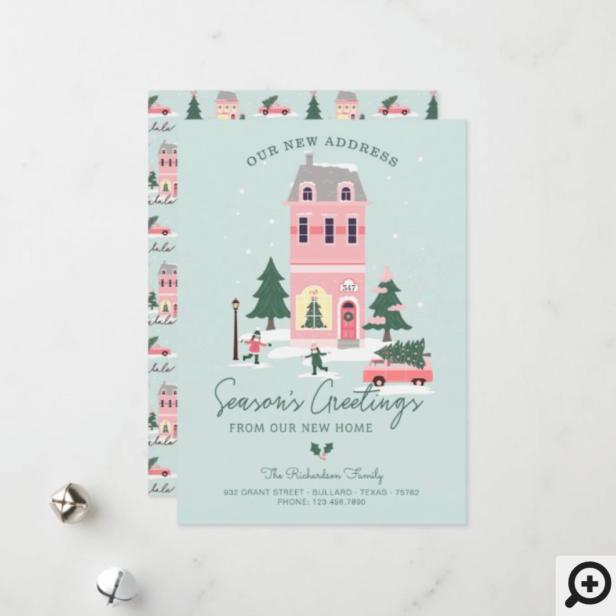 Seasons Greetings New Home Pink Vintage Home & Van Holiday Card