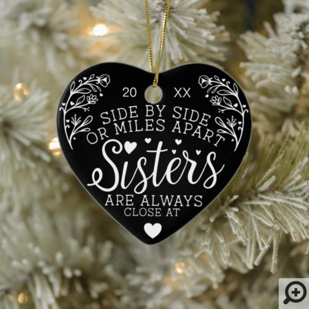 Sisters Connected At Heart Photo Keepsake Black Ceramic Ornament