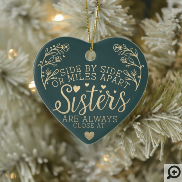 Sisters Connected At Heart Photo Keepsake Green Ceramic Ornament