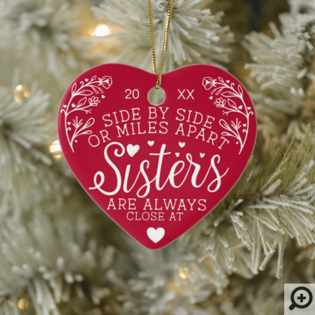 Sisters Connected At Heart Photo Keepsake Red Ceramic Ornament