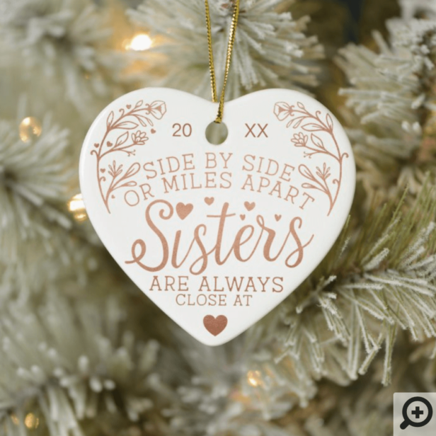 Sisters Connected At Heart Photo Keepsake Rose Gold Ceramic Ornament