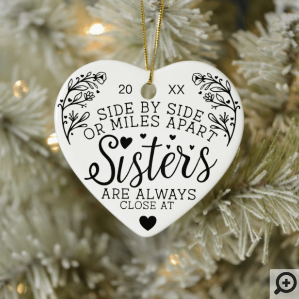 Sisters Connected At Heart Photo Keepsake White Ceramic Ornament