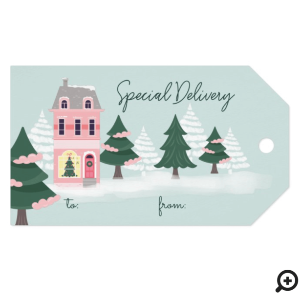 Special Delivery Christmas Town & Trees To & From Gift Tags