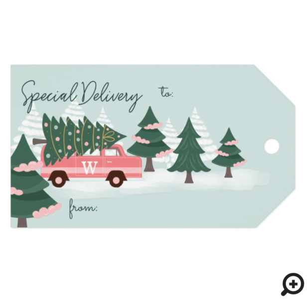 Special Delivery Christmas Tree Retro Pink Van Gift Tags