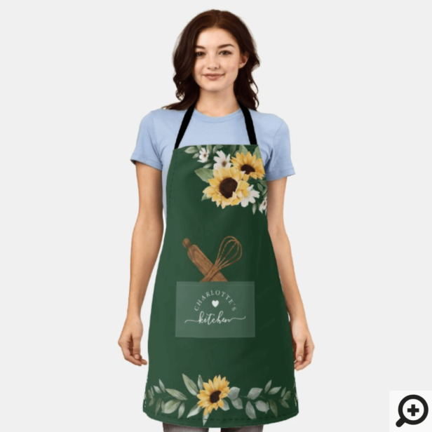 Sunflower Stitched Pocket & Wooden Spoon & Whisk Apron