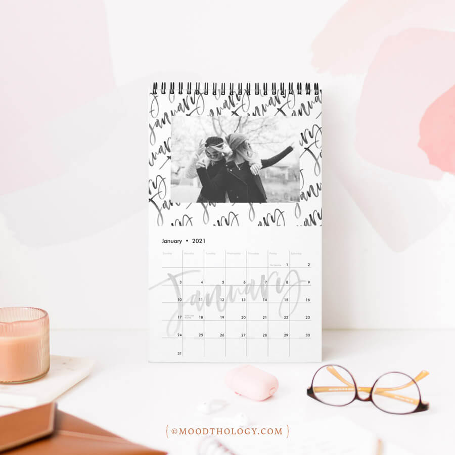 Trendy Black & White Brush Script Photo Collage Calendar Moodthology Papery