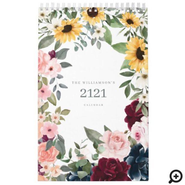 Watercolor Floral Botanical Garden Illustrations Calendar