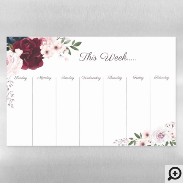 Weekly Calendar Burgundy & Blue Watercolor Flowers Magnetic Dry Erase Sheet