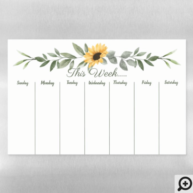 Weekly Calendar Watercolor Yellow Sunflower Magnetic Dry Erase Sheet