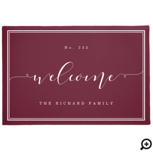 Welcome | Elegant Calligraphy House & Family Name Burgundy Doormat