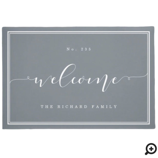 Welcome | Elegant Calligraphy House & Family Name Grey Doormat