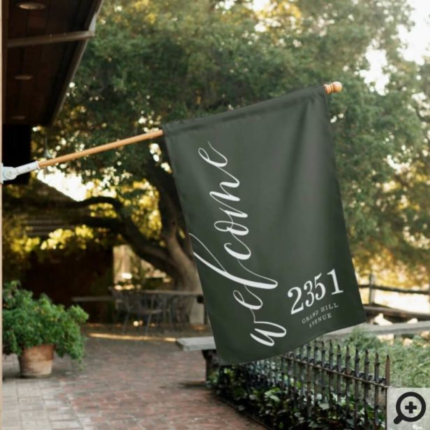 Welcome Greeting | Modern Calligraphy Home Address Green House Flag