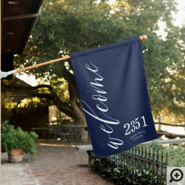 Welcome Greeting | Modern Calligraphy Home Address Navy House Flag